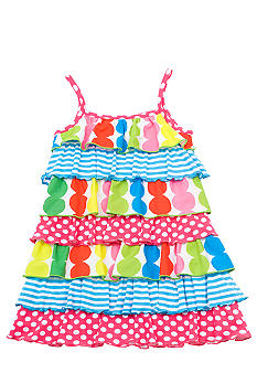 Rare Editions Tiered Dot and Stripe Dress Toddler Girls