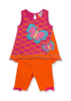 Rare Editions 2-Piece Butterfly Tank Top and Solid Short Set Toddler Girls