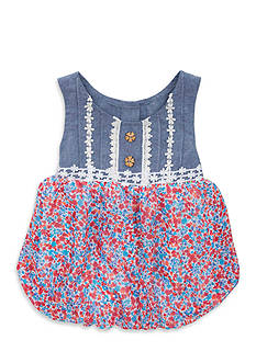 Rare Editions Ditzy Print Romper Toddler Girls
