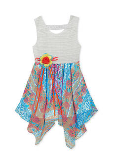 Rare Editions Lace to Scarf Print Chiffon Dress Toddler Girls
