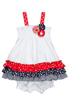 Rare Editions Red White Blue Seersucker Dress