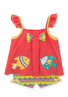 Rare Editions 2-Piece Clip Dot Fish Tank and Shorts Set