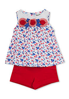 Rare Editions 2-Piece Flower Tank and Solid Shorts Set