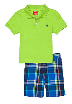 Izod 2-Piece Green Polo and Plaid Short Set