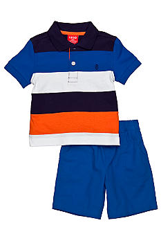 Izod 2-Piece Stripe Polo and Solid Short Set