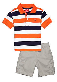 Izod 2-Piece Stripe Polo Cargo Short Set