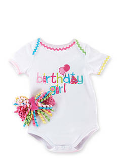 Mud Pie 2-Piece Birthday Girl Crawler Set