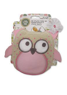 Little Me 2-Piece Owl Bib and Pacifier Holder Set