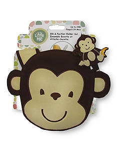 Little Me 2-Piece Monkey Bib and Pacifier Holder Set