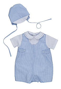 Petit Ami Gingham Romper With Hat