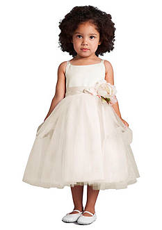 Us Angels Flower Girl Satin And Tulle Ballerina Dress With Flower- Infant Girls