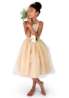 Us Angels Flower Girl Satin And Tulle Ballerina Dress With Flower - Toddler Girls