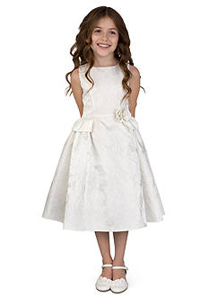 Us Angels Flower Girl Ballerina Length Sleeveless Brocade princess Bodice Dress With Peplum- Toddler Girls