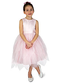 Us Angels Flower Girl Ballerina Length Dot Netting Sleeveless Tiered Dress With Hanky Hem And Full Skirt- Infant Girls