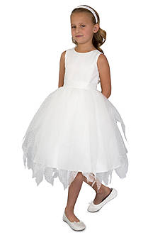 Us Angels Flower Girl Ballerina Length Dot Netting Sleeveless Tiered Dress With Hanky Hem And Full Skirt- Toddler Girls