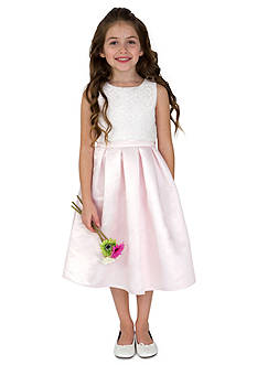 lavender by Us Angels Flower Girl Satin And Lace Sleeveless Lace Popover Bodice With Full Skirt- Toddler Girls