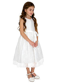 lavender by Us Angels Flower Girl Shantung And Embroidered Netting Sleeveless Princess Bodice With Full Skirt- Toddler Girls