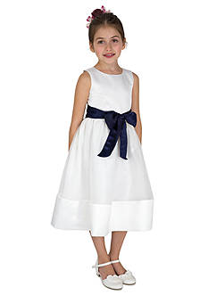 lavender by Us Angels Flower Girl Satin And Organza Sleeveless Bodice With Sash And Hem Full Skirt- Toddler Girls