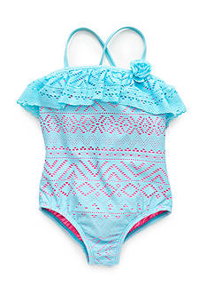 J Khaki™ Crochet Flounce Swimsuit Toddler Girls