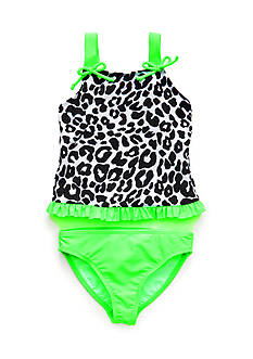 J Khaki™ 2-Piece Leopard Ruffle Tankini Toddler Girls