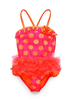 J Khaki™ Organza Dot Tutu One Piece Swimsuit Toddler Girls