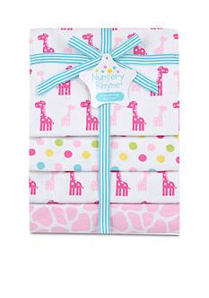 Nursery Rhyme 4-Pack Giraffe Flannel Receiving Blankets Set