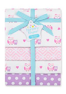 Nursery Rhyme 4-pack Flannel Owl Receiving Blankets