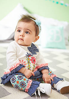 Nursery Rhyme 2-Piece Flower Shirt and Patterned Leggings Set