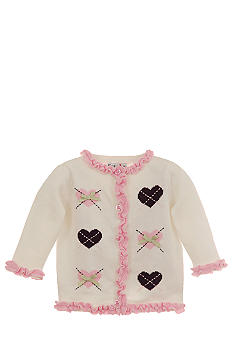 Hartstrings Argyle Heart Ruffle Cardigan Sweater