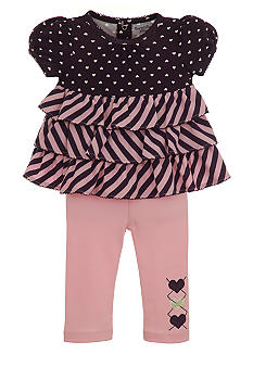 Hartstrings Dot and Stripe Knit Top & Pant Set