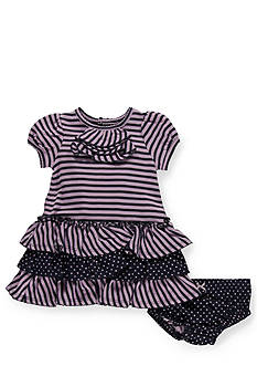 Hartstrings Stripe and Dot Knit Dress and Panty Set