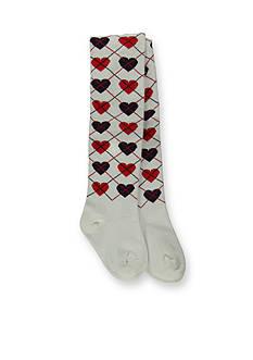 Hartstrings Heart Print Argyle Tights