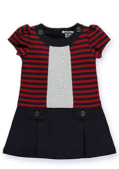 Hartstrings Stripe Knit Dress with Vertical Lace Front