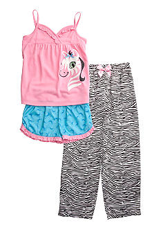 J Khaki Cutie Zebra 3 Piece PJ Set Girls 4-16