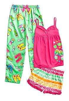 J Khaki 3-Piece Flip Flop Pajama Set Girls 4-16