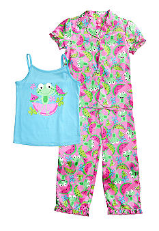 J Khaki 3-Piece Frog with Watermelon Pajama Set Girls 4-16