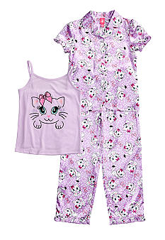 J Khaki 3-Piece Kitten Print Pajama Set Girls 4-16