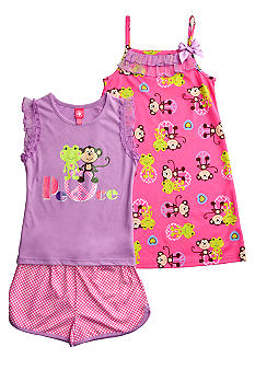 J Khaki Friends Peace 3 Piece Pajama Set Girls 4-16
