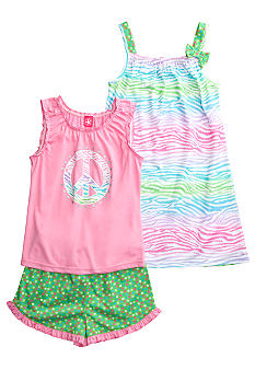 J Khaki Zebra 3 Piece Pajama Set Girls 4-16