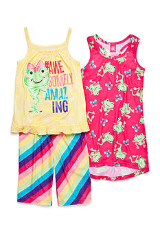 J Khaki™ 3-Piece Frog Pajama Set Girls 4-16
