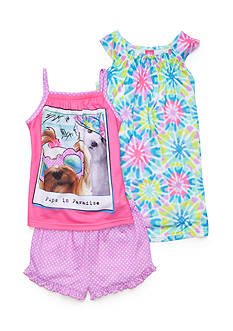 J Khaki™ 3-Piece Pups in Paradise Pajama Set Girls 4-16