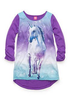 J. Khaki Printed Unicorn High Low Nighgown Girls 4-16