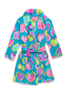 J. Khaki Fuzzy Heart Robe Girls 4-16