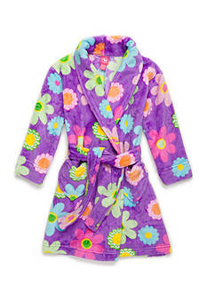 J. Khaki Fuzzy Flower Robe Girls 4-16