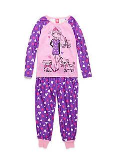 J. Khaki Pug and Girl 2-Piece Pajama Set Girls 4-16