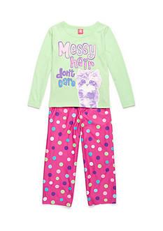 J. Khaki Messy Hair Cat 2-Piece Pajama Set Girls 4-16
