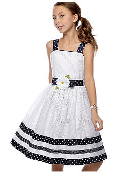 Blueberi Boulevard Eyelet Daisy Dress Girls 7-16