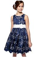 Sweet Heart Rose Floral Embroidered Occasion Dress Girls 7-16