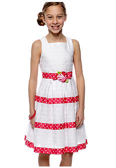 Sweet Heart Rose Sleeveless Eyelet Dress Girls 7-16