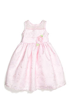 Sweet Heart Rose Floral Embroidered Overlay Flower Girl Dress Girls 4-6x